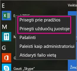 """Prisekite """"Office"""" programas pradžios ekrane arba """"Windows 10"""" užduočių juostoje"""