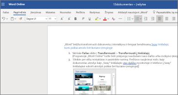 """Dokumentas su vaizdais programoje """"Word Online"""""""