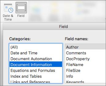Ekrano kopija, kurioje rodomi laukų kodai, filtruoti pagal dokumento informacijos kategoriją