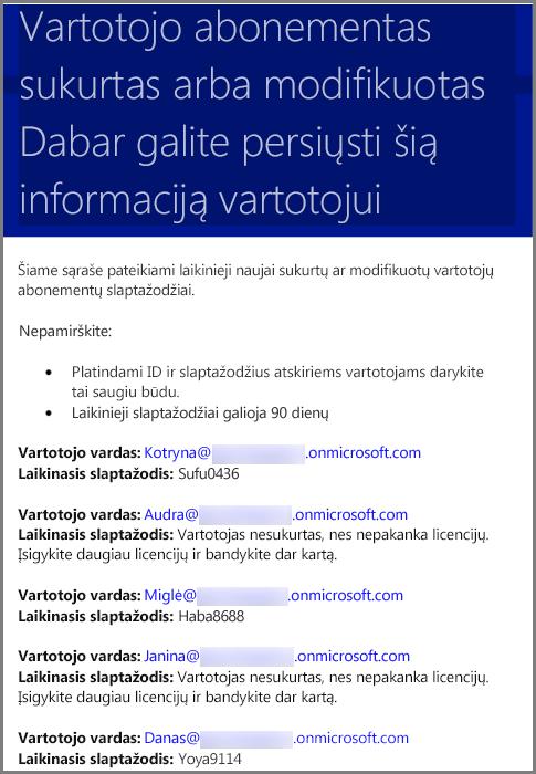El. laiško pavyzdys, kuriame nurodyta vartotojo kredencialų informacija