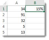 Skaičiai stulpelyje A, langeliuose nuo A1 iki A5, 15 % langelyje B1