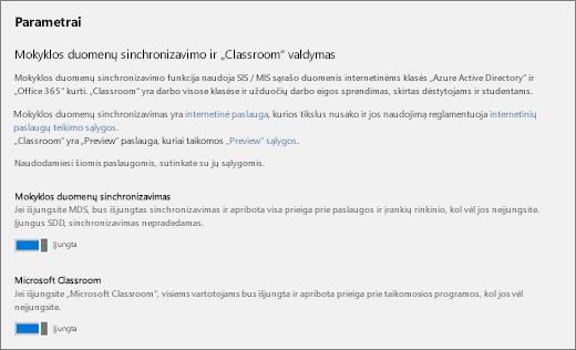 Ekrano kopija parametrus mokyklos duomenų sinchronizavimą, Norėdami įjungti mokyklos duomenų sinchronizavimo įjungimas arba išjungimas.