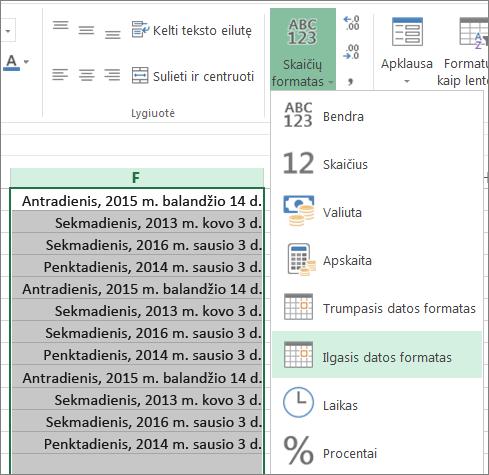 juostelės mygtukas pakeisti į ilgąjį datos formatą