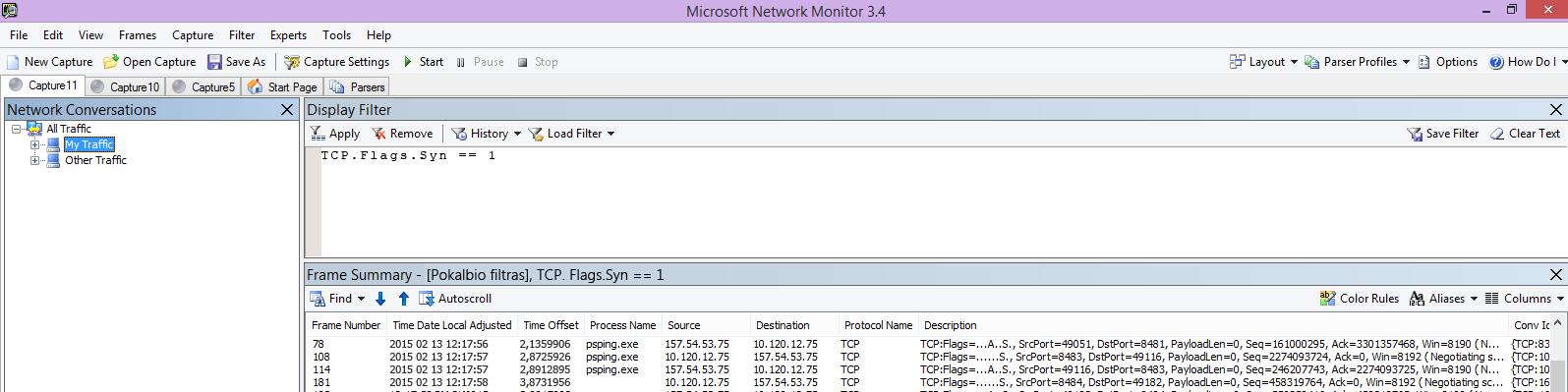 """""""Netmon"""" sekimas iš kliento, rodantis tą pačią PSPing komandą, naudojant filtrą TCP.Flags.Syn == 1."""