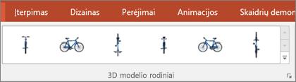 3D modelio rodinių galerijoje pateikiami keli jūsų 3D vaizdo rodinio  patogūs išankstiniai išdėstymai
