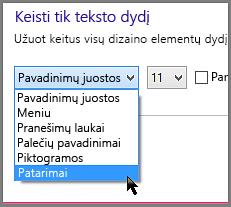"""""""Windows 8"""" patarimų formato parametrai"""