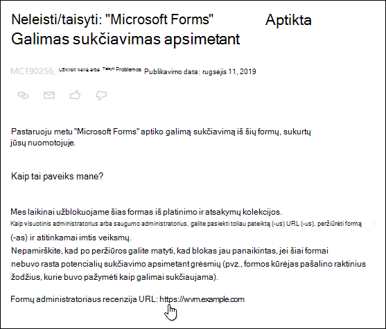 """Perkėlus žymiklį į formos administratoriaus peržiūros URL hipersaitas """"Microsoft 365"""" administravimo centro įraše apie """"Microsoft Forms"""" ir Apsimestinių svetainių aptikimą"""