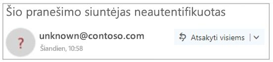 "Neautentifikuotiems siuntėjo programoje ""Outlook"""