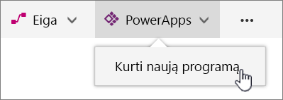 Komandų juosta su paryškinta sukurti Power app PowerApp meniu elementą.