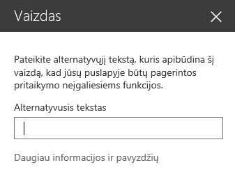 """""""Office 365"""" dialogo lango Vaizdo alternatyvusis tekstas programoje """"SharePoint"""" ekrano nuotrauka."""