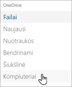 """""""OneDrive"""" portalo kairiosios pusės naršymas rodant kompiuteryje"""