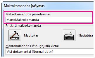 Laukas Makrokomandos pavadinimas