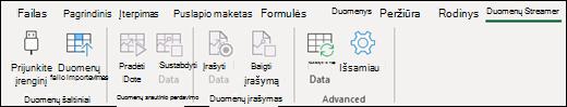 """""""Excel"""" duomenų baidymo juostelės skirtukas"""