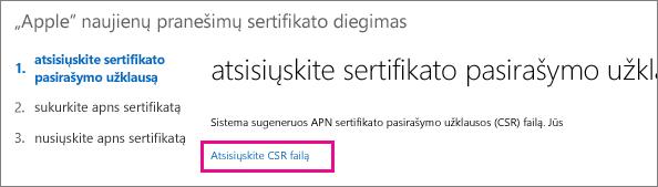 Atsisiųskite sertifikato pasirašymo užklausos failą.