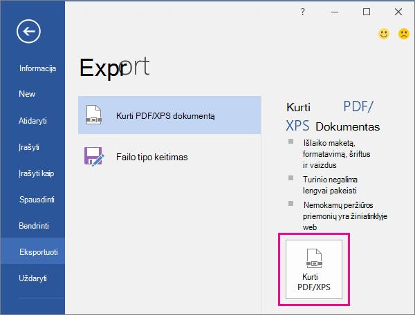 """Mygtukas kurti PDF/XPS programos """"Word 2016"""" skirtuke Eksportavimas."""