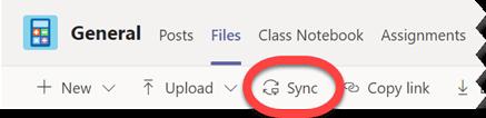 Naudokite sinchronizavimo mygtuką skirtuke failai, kad sinchronizuotumėte visus šiuo metu pasirinktame aplanke esančius failus.