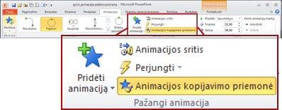 """Skirtukas Animacijos programos """"PowerPoint 2010"""" juostelėje."""