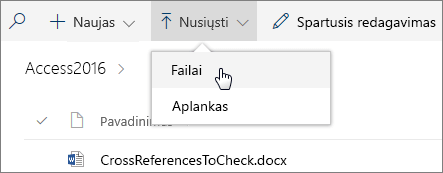 Ekrano nuotrauka, vaizduojanti atidarytą dokumentų bibliotekos meniu Nusiuntimas.