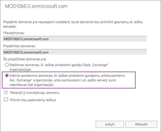 """Ekrano kopijoje pavaizduotas Pripažintų domenų dialogo langas, kuriame prie konkretaus pripažinto domeno pasirinkta parinktis """"Vidinis perdavimas""""."""