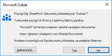"""Prisijungimas prie """"SharePoint"""" dokumentų bibliotekos"""