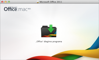 """""""Office for Mac"""" diegimo piktogramos, kurią reikia paspausti, norint pradėti diegimą, paveikslėlis."""