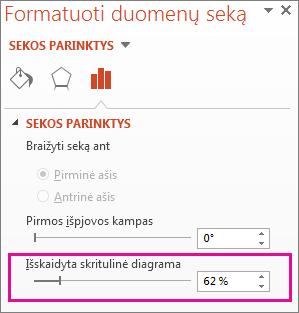 Skritulinės diagramos skaidymo slankiklis srityje Duomenų sekos formatavimas