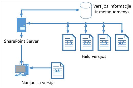 Versijų kūrimo saugyklos diagrama
