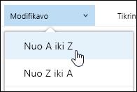 """Rūšiuoti dokumentų bibliotekos rodinio """"Office 365"""""""