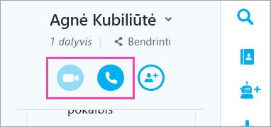 Pokalbių lange esančių balso ir vaizdo mygtukų ekrano kopija