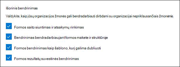 """""""Microsoft Forms"""" administratoriaus išorinio naudojimo parametras"""