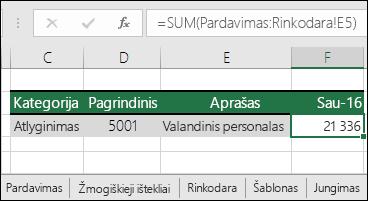 """""""Excel"""" 3D lapo nuorodos formulė"""