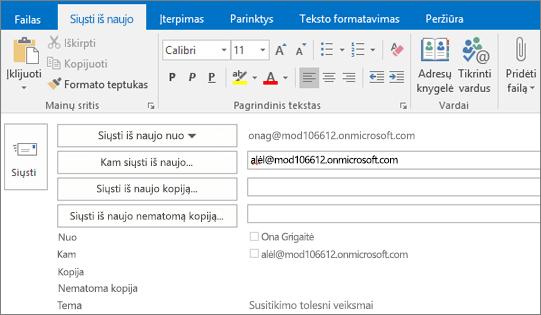 Ekrano kopijoje pavaizduota el. pašto pranešimo parinktis Siųsti dar kartą. Automatinio užbaigimo funkcija įvedė gavėjo adresą lauke Siųsti iš naujo.