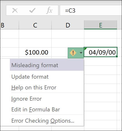 Klaidos pranešimas Apie klaidinantį skaičių formatą
