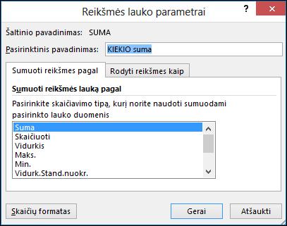 """""""Excel"""" reikšmių lauko parametrų dialogo langas, skirtas parinktims Sumuoti reikšmes pagal"""