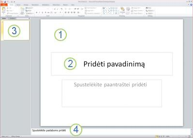 """Keturios """"PowerPoint 2010"""" darbo srities arba rodinio Įprastas sritys su žymomis."""