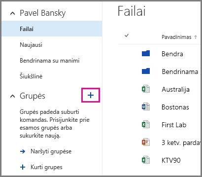 """Grupės kūrimo iš """"OneDrive"""" verslui spustelėjant pliuso ženklą ekrano nuotrauka"""