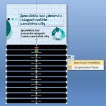 Slide master with formatting options displayed