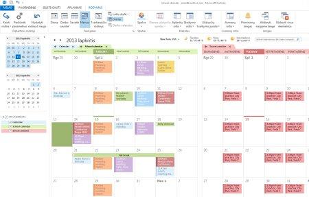 Kalendorių, naudojamų Gretutiniu ir Persidengimo režimu pavyzdys