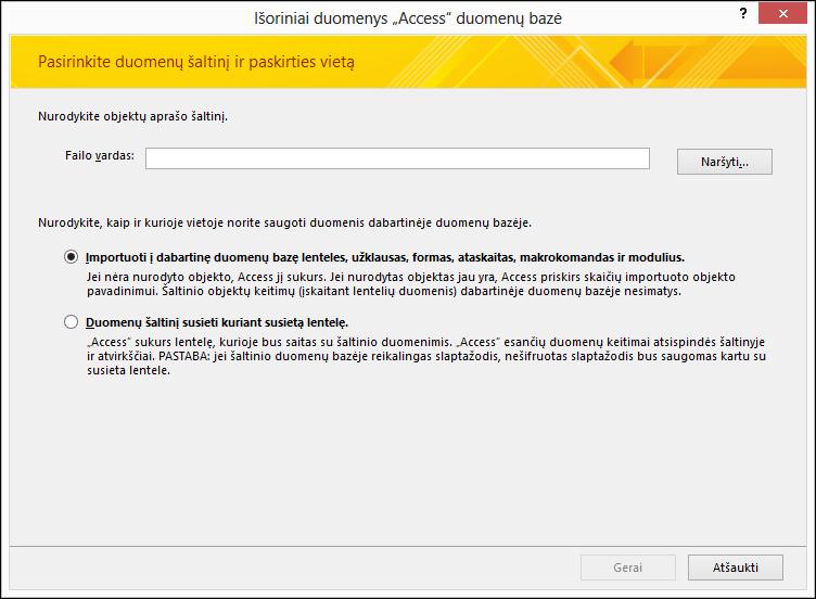"""""""Access"""" duomenų bazės importavimo vedlio veiksmo Gauti išorinius duomenis ekrano nuotrauka"""
