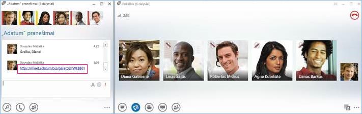 Pokalbių kambario konferencinio skambučio ekrano kopija
