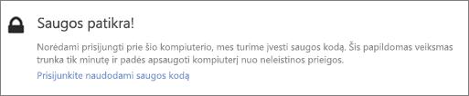 """""""OneDrive"""" radimo užklausos UI pranešimo patvirtinimo kodo pavyzdys"""