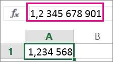 Suapvalintas skaičius rodomas darbalapyje, tačiau visas – formulių juostoje