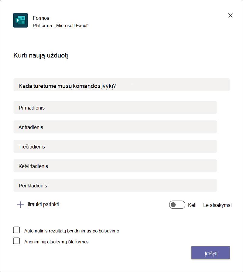 Sukurkite naują apklausą Microsoft Teams.