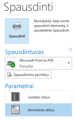 Laiškų spausdinimo parametrai