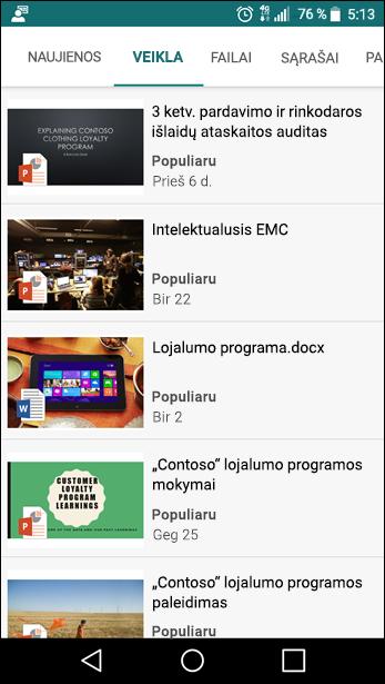 """""""SharePoint"""" komandos svetainės mobiliesiems įrenginiams skirtas rodinys"""