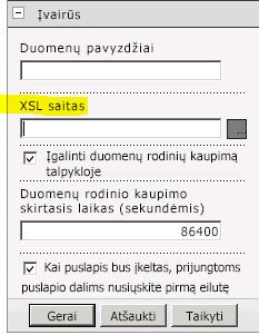 XSL saito ypatybė puslapio dalies meniu