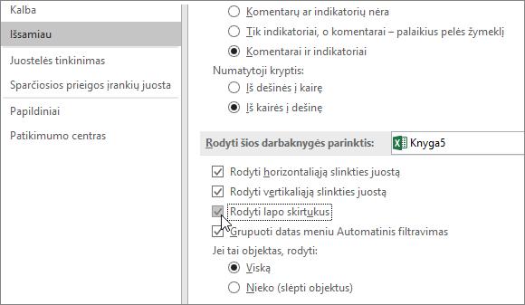 """Rodyti lapo skirtukus programos """"Excel"""" parinkčių lape"""