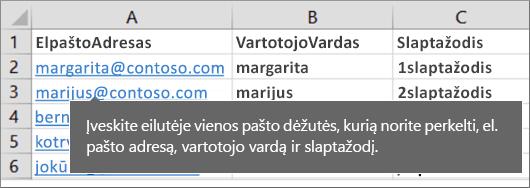 Užbaigto perkėlimo failo pavyzdys.