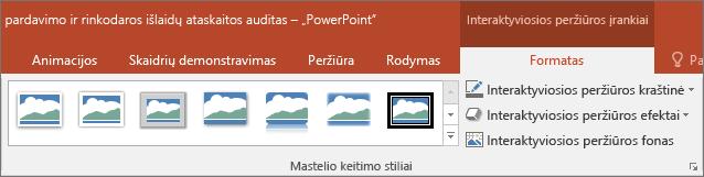 """Rodo skirtingus mastelio stilių ir efektus, galite pasirinkti skirtuką formatavimas programoje """"PowerPoint""""."""