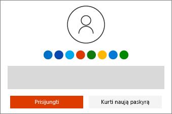"""Prisijunkite naudodami savo """"Microsoft"""" paskyrą. Jei paskyros neturite, galite ją sukurti."""